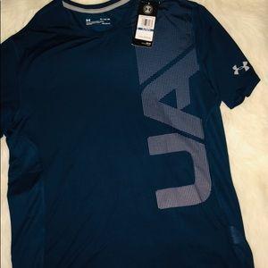 Under Armour Aqua Dark Short Sleeve Shirt sz XL